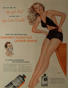 1950s MINGO vintage illustration pinup girl woman swimsuit MENNEN SHAVE CREAM advertisement by Christian Montone, via Flickr