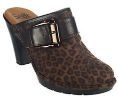 Look and feel lovely in these Sofft Leather Leopard Print Slip-on Clogs! #FFANY
