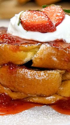 For a fruit-forward twist on French toast, change out the maple stuff for this sweet strawberry syrup instead.