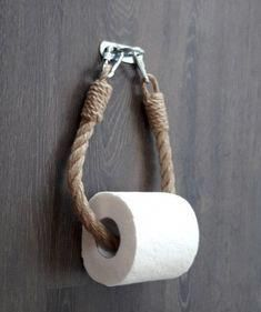 Toilet Paper Holder Is Made Of Natural Jute Rope And A Metal Brackets Of Silver Color Porte Papier Toilette Deco Toilettes Porte Serviette Pour Salle De Bain