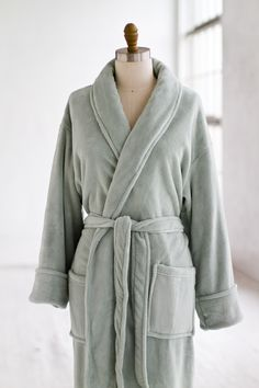 Plush Velour Spa Robe Sage — LUXURY SPA ROBES | Spa Quality Robes in Terry Cloth, Plush Velour, Seersucker, Waffle & Cotton CLICK HERE for more information at luxurysparobes.com $115