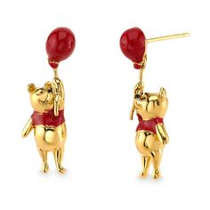 Winnie the Pooh dangles gleefully from his red balloon on these delightful earrings. Inspired by Disney's live-action Christopher Robin, they are crafted in solid sterling silver and yellow gold, and embellished with candy red enamel. Disney Earrings, Disney Jewelry, Cute Earrings, Beaded Earrings, Gold Earrings, Disney Couture Jewelry, Disney Wedding Rings, Disney Engagement, Ring Engagement