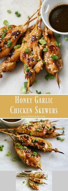 2 Chicken breasts - cut into 8 one inch strips. 1/2 tsp Garlic powder. 1/2 tsp Ginger. 1/2 cup Honey. 2 tbsp Soya sauce. 1 tbsp Cornstarch. 2 tbsp Vinegar. 8 Skewers.
