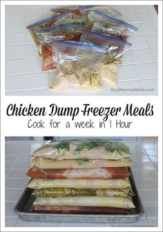 Crockpot- Salsa chicken Pesto Ranch Chicken Hawaiian Chicken Sweet Mustard Chicken Chicken Dump Freezer Meals - Cook 7 meals in an hour! This is such a HUGE time saver! Slow Cooker Freezer Meals, Make Ahead Freezer Meals, Crock Pot Freezer, Dump Meals, Freezer Cooking, Crock Pot Cooking, Slow Cooker Recipes, Gourmet Recipes, Crockpot Recipes
