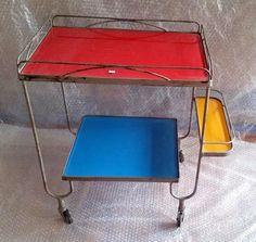 Carrinho Em Ferro Vidros Coloridos Design Vintage Anos 50 em Mercado Livre