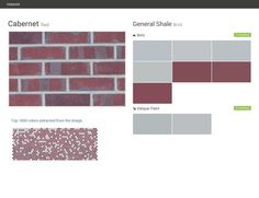 Cabernet. Red. Brick. General Shale. Behr. Valspar Paint.  Click the gray Visit button to see the matching paint names.