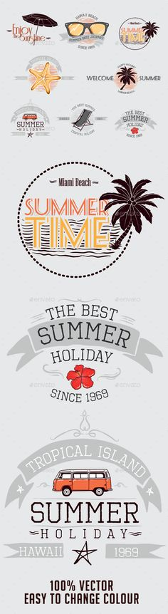 Summer Badges Vector Template #design Download: http://graphicriver.net/item/summer-badges/10461824?ref=ksioks