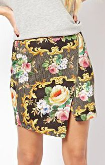 Floral Printing Inclined Zipper Skirt