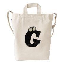 Custom Letter G Initial Monogram Funny Duck Bag Duck Canvas Bag
