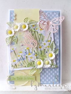 DT member Marleen made this spring card with Creatables Tiny's Butterfly Set (LR0509), Craftable s Daisy and Leaves (CR1272) and Basic Distressed Square (CR1375) from Marianne Design