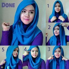 Tutorial Hijab Pashmina Bahan Satin Yang Cantik dan Anggun