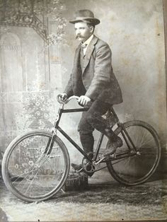 Cabinet Card Man with Hat on Bicycle | eBay