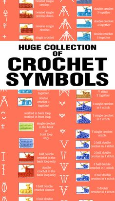 This huge collection of crochet symbols is perfect for those who want to learn. This huge collection of crochet symbols is perfect for those who want to learn. Crochet Stitches Patterns, Crochet Chart, Crochet Basics, Crochet For Beginners, Free Crochet, Knit Crochet, Doilies Crochet, Crochet Double, Crochet Twist