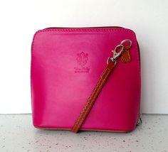 Vera Pelle Handbag Pink Leather Italian Cross Body Mini Bag Purse #VeraPelle #MessengerCrossBody