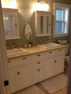 Bathroom idea - house via The Pleated Poppy. Lovin the paneling! Family Bathroom, Laundry In Bathroom, Bathroom Renos, Bathroom Renovations, Master Bath Remodel, Medicine Cabinets, Bathroom Pictures, Panelling, Kids Bath