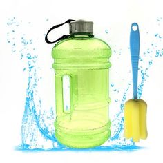 22 Liter Resin Sports Water Bottle Sprtjoy BPA Free Plastic Big Large Outdoor Picnic Bicycle Bike Camping kettle Portable Gym Fitness Training Jug Container Green ** You can get additional details at the image link.