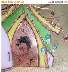 CLOSEOUT SALE Stained Glass Fairy House with by DragonflyDreams1