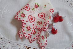Valentine's Day Wedding Handkerchief Hearts by GreenbriarCreations, $15.00