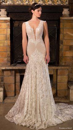 naama anat bridal 2017 cap sleeves split sweetheart trumpet wedding dress…
