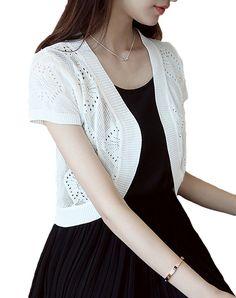 Amazon | (アーバン ココ)[Urban CoCo]レディース ショート カーディガン 薄手 半袖 ファッション 春夏 無地 ポレロ (ホワイト)…
