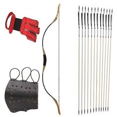 Archery Traditional Hunting Longbow And 12 Arrows Red Finger Arm Guard 15-80#