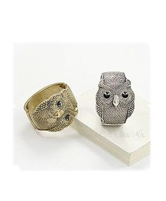 Metal Owl Wide Bangle - Love it! I want one in gold and silver!!!