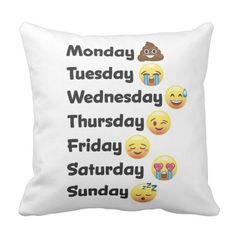 Day of the Week Emoji Face Pillow Emoji Caca, Cute Pillows, Throw Pillows, Funny Pillows, Emoji Bedroom, Emoji Board, Emoji Defined, Emoji Love, Emoji Wallpaper