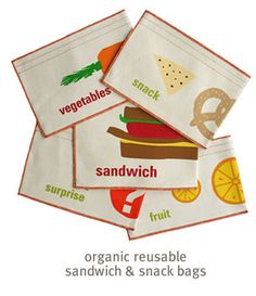 Organic Cotton Reusable sandwich & snack bags by Graze Organic