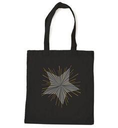 Star Tote bag, tote bags, gold handbag tote, cotton tote, metallic screenprint, beautiful bursting star ray design, perfect giff women