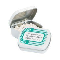 Personalized Filigree & Stripes Mint Tins