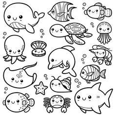 Vector illustration of cartoon sea animals - book of col . - Vector illustration of cartoon sea animals – coloring book – - Cartoon Cartoon, Cute Cartoon Drawings, Drawing Cartoon Characters, Kawaii Drawings, Doodle Drawings, Drawing Cartoons, Doodle Characters, Doodle Cartoon, Cartoon Photo