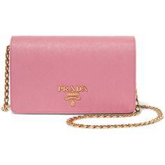 Prada Textured-leather shoulder bag (€1.100) ❤ liked on Polyvore featuring bags, handbags, shoulder bags, baby pink, shoulder bag purse, chain handle handbags, prada purses, prada and shoulder hand bags
