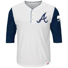 156f15f6f40 Atlanta Braves Majestic Big Time Fan Raglan Three-Quarter Sleeve T-Shirt -  White Navy. Tiger T ShirtDetroit ...