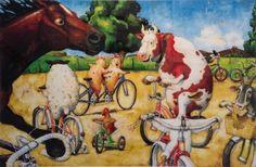 "David Shannon- ""Duck on Bike (Duck on a Bike)"" Print 2003 Duck On A Bike, David Shannon, Bike Poster, Bicycle Art, Kids Ride On, Moose Art, Sculptures, Painting, Animals"
