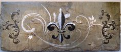 Fleur De Lis Wall Decor Hand Painted Recycled New Orleans Roofing Slate reclaimed from Hurricane Katrina rubble. Slate Art, Slate Tiles, Paint Recycling, New Orleans Decor, French Flowers, Tile Projects, Pallet Art, Leis, Tile Art