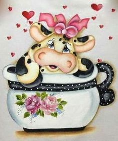 DIY Diamond Painting Cartoon Cow in a Cup - craft kit Chicken Painting, Cow Painting, Fabric Painting, Cartoon Cow, Cup Crafts, Cute Cows, Cow Art, Wall Drawing, Animal Coloring Pages