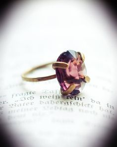 Vintage amethyst glass cabochon ring antiqued by KazaniansBookshop