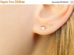 VALENTINES DAY  Tiny Studs with Opal  Tiny Earrings by MoonliStuds