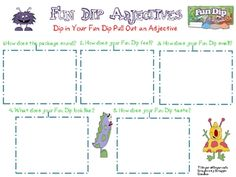 """Practice adjectives and have fun with Fun Dip Candy.  Then, since all of the adjectives from the free page are """"What kind?"""", students should list some additional adjectives that tell, """"How many?"""" and """"What size?"""" as well as some articles.  On the back, students write sentences with comparative and superlative forms of their Fun Dip adjectives."""