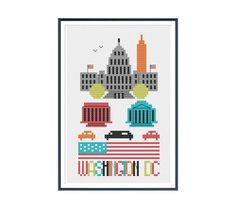 Make a cross stitch version of Washington, DC with the US Capitol building, Lincoln Memorial, Washington Monument (obelisk), and Jefferson