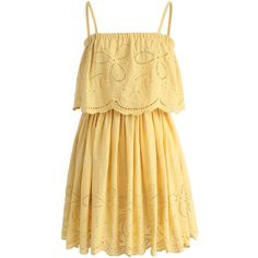 Chicwish Tickle Me Picnic Embroidery Cotton Dress (930 MXN) ❤ liked on Polyvore featuring dresses, vestidos, yellow, платья, yellow summer dress, yellow embroidered dress, embroidered summer dress, cotton dress and beige dress