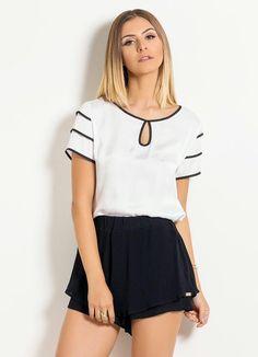 Blusa de Cetim Quintess (Branca e Preta)                                                                                                                                                                                 Mais