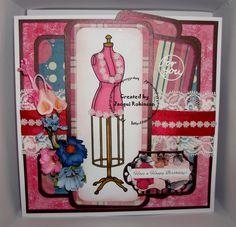 Dragons Lair Designs digi stamp Steampunk Mannequin & Spring Fling papers for layers. Craftwork cards sentiment.