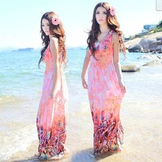 Summer spring Fashion 2014 women floor length bohemia dresses plus size casual slim dress beach flower sexy vintage dress k1019