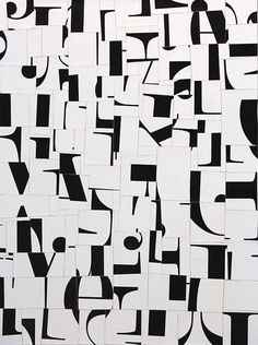 Design \\// Cecil Touchon (b.1956)  Post-Dogmatist Painting #530 - Collage on canvas - 40x30 inches - 2011 - black and white, typography, abstract,