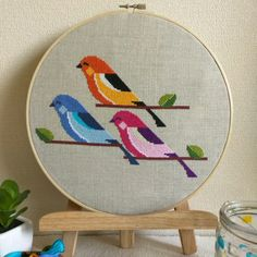 Three Little Birds. Cross stitch instant download PDF pattern. Available at my etsy shop evermoreembroidery