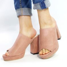 73b68410529b Women s Pink Peep Toe Chunky Heels Comfortable Mules Sandals for Anniversary