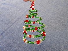 Spiral Beaded Christmas Tree Ornament