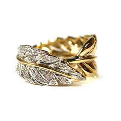 14K Diamond Feather Ring.  $675.00 #jewelry