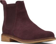 bd6b3f62bc19 Women s Clarks Clarkdale Arlo Chelsea Boot - Burgundy Suede with FREE  Shipping  amp  Exchanges.